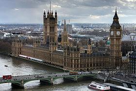 Le palais de Westminster vu depuis le London Eye