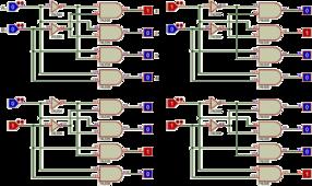 Un démultiplexeur de 2 vers 4, montré dans les 4 états possibles.