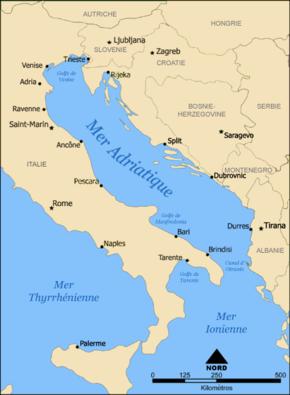 Carte de la Mer Adriatique