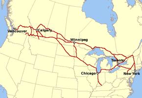 Le réseau exploité par le Canadien Pacifique