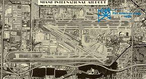 Aéroport de Miami (en bleu, le terrain du 1er aérodrome des années 1930)