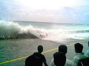 Tsunami à Malé aux Maldives, le 26 décembre 2004.
