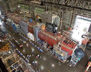 Le Virginia en constructiion sur le chantier naval Electric Boat de Groton