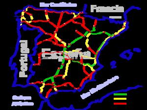 Carte d'Espagne des lignes grande vitesse en service, en construction ou en projet.