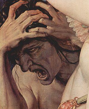 La Jalousie peut devenir maladive, elle est alors source de soufrance pour son auteur comme pour son objet. Ici Angelo Bronzino a représenté la jalousie grimacante et torturée, parmi les triomphes de Vénus