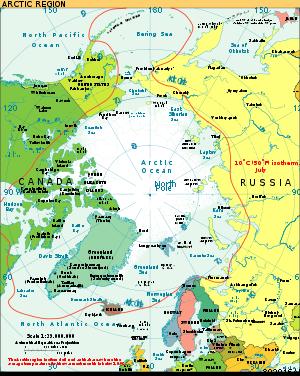 L'isotherme à 10°C du mois de juillet (ligne rouge) qui définit la limite de la région arctique