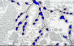 Chapelets d'étangs créés par des barrages sur petits cours d'eau, du moyen-âge au XVIIIe siècle (France, d'après la carte de Cassini)