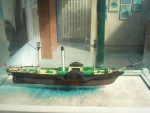 Reconstitution d'un bateau � vapeur de mer avec roues � aubes, Irlande, Cobh, mus�e H�ritage centre