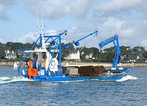 Bateau ostréicole dans la rivière du Créac'h en Bretagne Sud