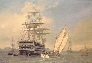 le navire de ligne français Borda visité par l'impératrice Eugénie