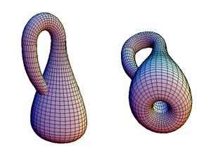 Deux vues de la bouteille de Klein dans un espace à trois dimensions.