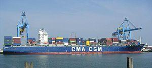 Le CMA CGM Balzac à Zeebrugge en Belgique