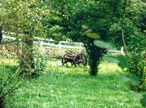 Charrette encore utilisée à la fin du XXesiècle en Cantabrie. La roue est à structure particulière: poutre diamétrale  et deux poutrelles reprenant le cerclage en bois en six points. Bande de roulement monté par frettage. Les deux roues sont solidaires