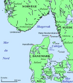 Carte du Skagerrak et du Cattégat