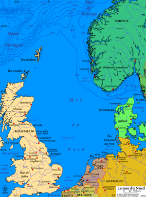 Carte de la mer du nord