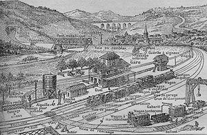 Dessin de 1912 représentant le chemin de fer