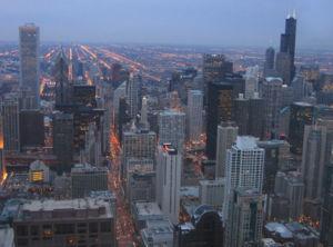 L'Aon Center et la Tour Sears, vue du John Hancock Center a Chicago.