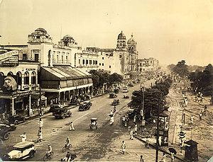 L'artère principale de Kolkata, Chowringhee Avenue, en 1945.