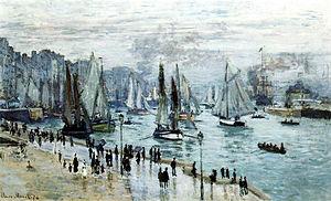 Bateaux quittant le port, Le Havre (Claude Monet)1874 (60 x 101 cm), collection privée