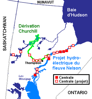 Centrales actuelles et projetées du Projet hydroélectrique du fleuve Nelson, Manitoba, Canada (2006)