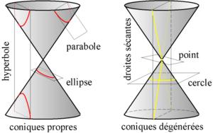 Intersection d'un plan et d'un cône de révolution