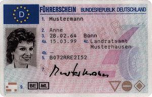 Permis de conduire européen, version allemande.