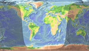 La lumière du Soleil telle qu'elle éclaire la surface terrestre un 2 avril aux environs de 13:00 UTC.