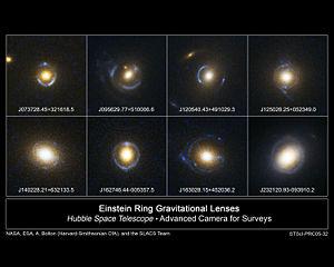 Différents Anneaux d'Einstein partiels pris par le télescope spatial Hubble
