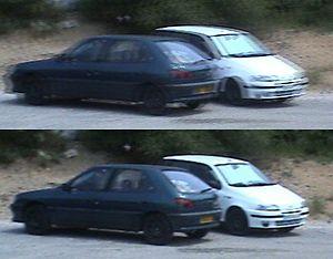 Exemple de l'effet de peigne sur un travelling latéral. L'image du bas, progressive, n'a pas ce défaut
