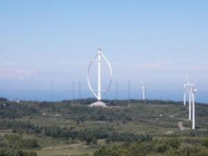 �olienne de type Darrieus � rotor parabolique, Parc �ole, Canada.