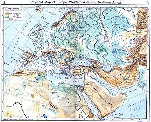 Carte de géographie physique de l'Europe, entourée du nord de l'Afrique et de l'ouest de l'Asie.