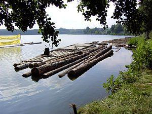 Radeau constitué de troncs d'arbre reliés entre eux.