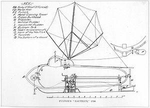 Le Nautilus de Robert Fulton (gravure du XIXe siècle)