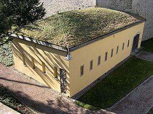 L'architecture militaire pour des raisons de camouflage ou de protection contre les obus a utilisé la terre et la végétation en couverture