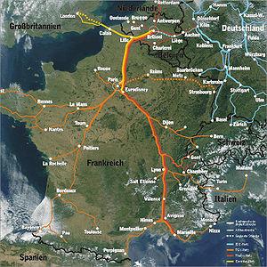 Réseau des lignes TGV et autres lignes rapides d'Europe de l'Ouest