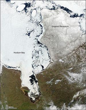 Parties centre et Est de la baie d'Hudson encore prise dans les glaces le 21 mai, 2005