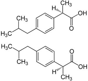 Structure des énantiomères R (en haut) et S (en bas) de l'acide 2-[4-(2-méthylpropyl)phényl]propanoique