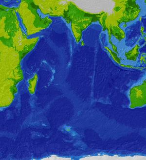 Profil bathymétrique de l'Océan indien