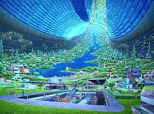 Conception d'artiste d'un habitat spatial appelé le tore de Stanford, par Don Davis.