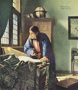 Vermeer, Le Géographe, 1669, conservé au Städelsches Kunstinstitut, à Francfort-sur-le-Main