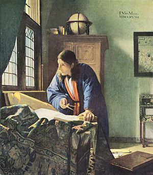 Vermeer, Le G�ographe, 1669, conserv� au St�delsches Kunstinstitut, � Francfort-sur-le-Main