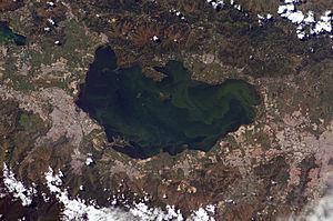 Le lac Valencia (Venezuela) recueille des effluents agricoles, industriels et urbains. Les blooms alguaux sont détectables par satellite.
