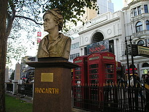 Statue de William Hogarth, Leicester Square .