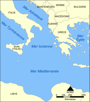 Carte de la Mer Ionienne