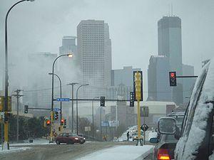 Les rues de Minneapolis en hiver.