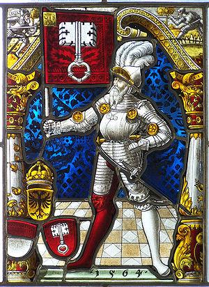 Vitrail dans le château de Sulkowski à Bielsko-Bia?a.