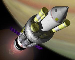 Vue d'artiste d'un vaisseau Orion selon les principes de conception de la NASA.