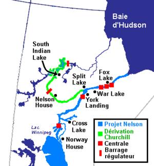 Principaux villages des Nations cries affectées par le Projet hydroélectrique du fleuve Nelson (1957-1990), Manitoba, Canada (2006)