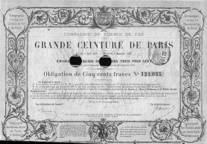 Obligation de la Cie de chemin de fer de Grande Ceinture, 1876