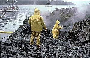 Nettoyage des c�tes de la baie du Prince William, en Alaska, apr�s le naufrage du p�trolier Exxon Valdez